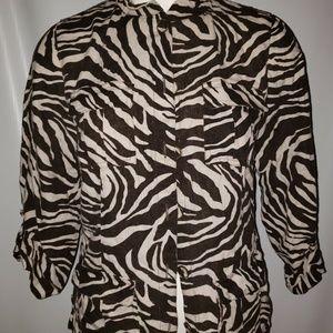 Women's CHICO'S Zebra Print 3/4 Sleeve Shirt Blous